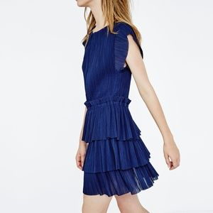 Maje RADZY Pleated Ruffle Tiered Dress Navy